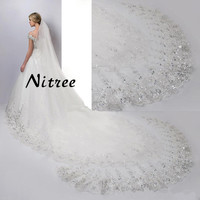 2018 New Bridal Wedding Veils 4 Meters Cathedral Wedding Veil Long Lace Edge Bridal Veil With