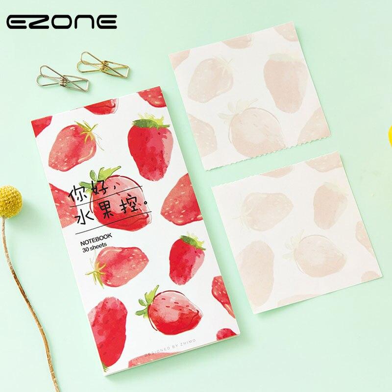 EZONE Cute Fruit Memo Pad Candy Color Printed Strawberry/Mango/Peach/Watermelon Sticker Note Kawaii Mini Notebook Office Supply