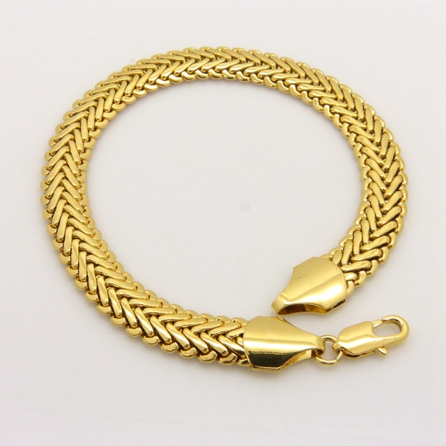 Herringbone Bracelet Chain Yellow Gold Filled Womens Mens Wrist 22cm Long