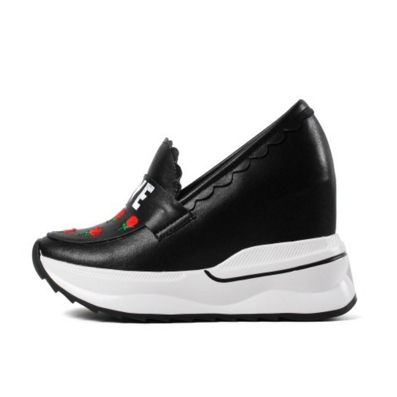forme Compensées Haut Pompes Talons En Femme Nightcherry Fleurs Mode Cuir Véritable Chaussures blanc Dames À Hauts Femmes Plate De Taille Noir 3140 54ARL3j