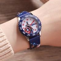 children watches quartz genuine leather cotton Captain America Disney brand boys wristwatches students waterproof clcoks