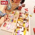 QWZ 72 unids 1-4 Años Brinquedos Bebé Oso Ropa de Cambio de Regalo Del Rompecabezas De Madera Rompecabezas de Bloques de Construcción de La Primera Infancia juguetes Maquetas