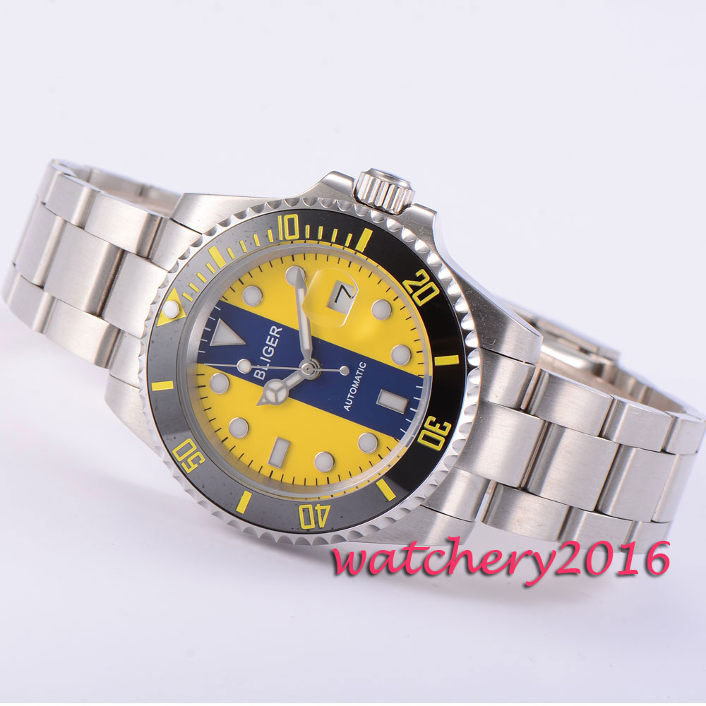 все цены на 40mm Bliger blue & yellow dial black ceramic bezel deployment clasp sapphire glass date luminous automatic movement Men's watch онлайн