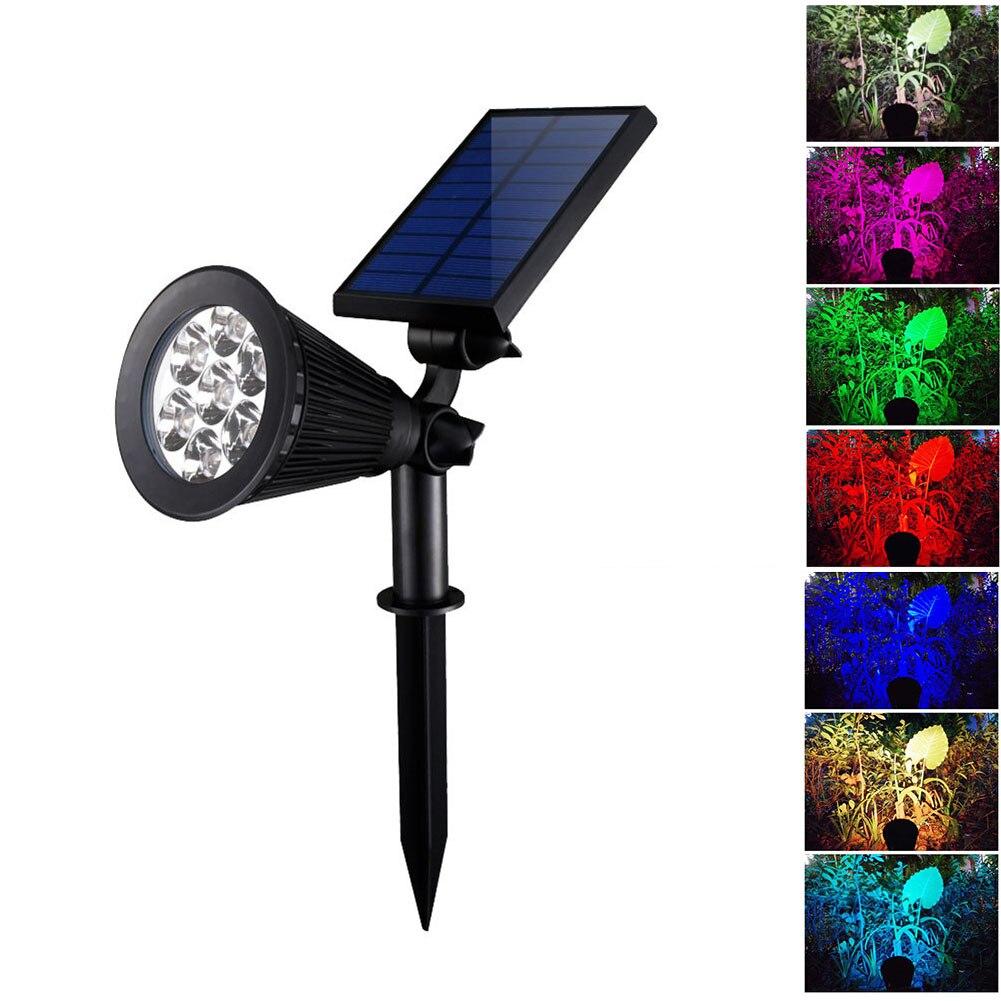 1 pcs nova chegada 7 led solar lampada projetor ponto ajustavel para jardim ao ar livre
