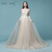 Elegant Champagne Wedding Dress 2018 Long Sleeveless Lace Bridal Gown Tulle Beach Wedding Gown Robe De