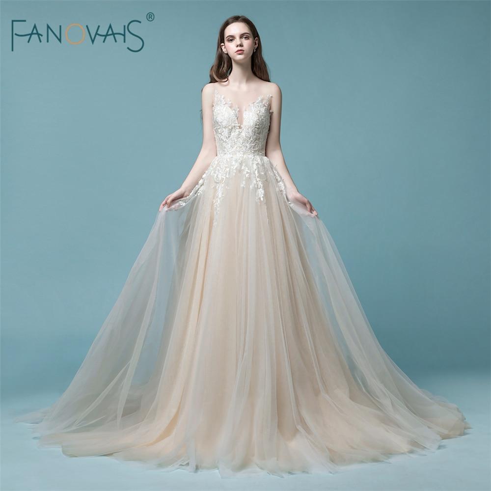 Elegante Champagne Vestido de Novia 2018 de encaje sin mangas ...