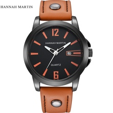 Hannah Martin Sport Men Watch Top Brand Luxury Male Leather Waterproof Chronograph Quartz Military Wrist Watches Men Clock saat curren top brand men fashion chronograph quartz watches men s leather military sport wrist watch male 24 hours date analog clock
