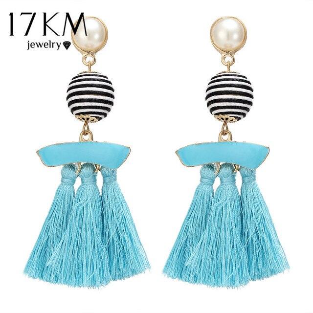 17KM Long Multicolor Tassel Earrings For Women Vintage Ethnic Handmade Ball Pendant Dangle Chandelier Earring Patry Jewelry
