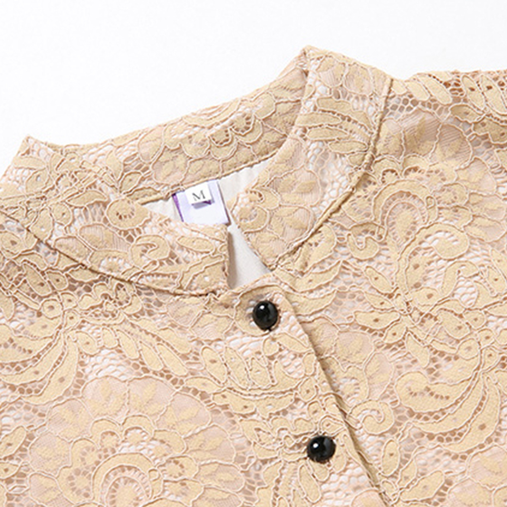 NEW Woman Spring Solid Lace Dress Full Sleeve Female A-Line Dress Hollow Out Woman Lace Midi Dress