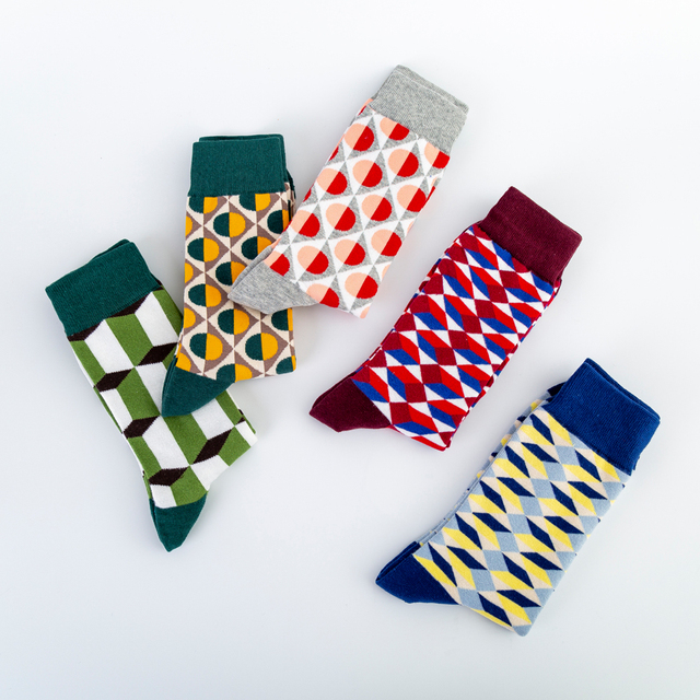 Colorful Men's Cotton Dress Funny Socks Novelty Casual Personality Design Hip Hop Street Wear Happy Wedding Socks Gifts for Male 4