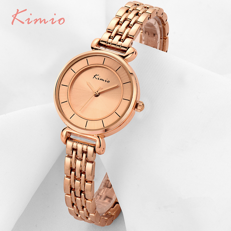 KIMIO Simple Small Double Dial Gold Bracelet Quartz Watches Women Fashion Watch 2017 Brand Ladies Watch