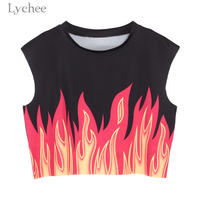 Lychee Punk Gothic Summer Women Crop Top Flame Print Sleeveless Casual Loose Tank Top Vest Streetwear
