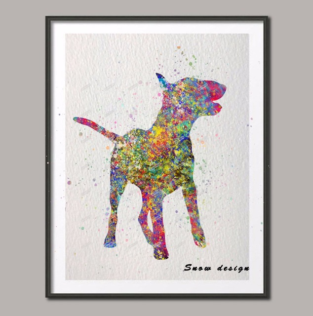 Great Original English Bull Terrier Watercolor Canvas Painting Dog Wall Art  Poster Print Pictures Living Room Decor