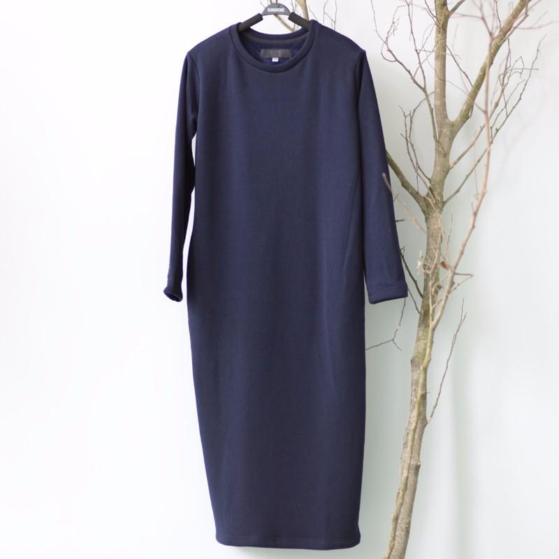 SCUWLINEN Winter Dress 17 Vestido Women Dress Plus Size Velvet Thickening Thermal Basic Dress Long Sleeve Solid Warm Dress S59 20