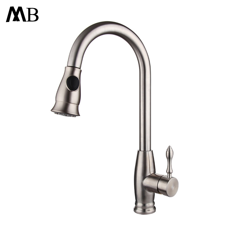 Pull out Spray Kitchen Faucet Mixer Tap Deck Mounted Sink Mixer Taps Single Handle Faucets 304 Stainless Steel Brushed Finish perfect brushed nickle solid brass kitchen faucet pull out spray deck mounted sink mixer taps single handle swivel yt 6028