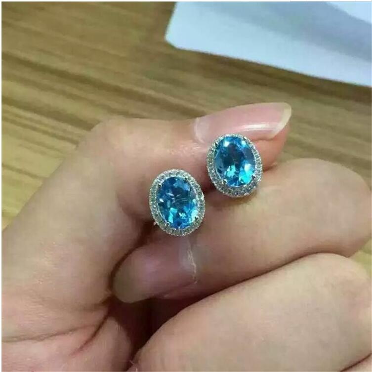 Natural Blue topaz earring Free shipping Natural real Blue topaz 925 sterling silver 6*8mm chamsgend summer kids cute baby girls vest pleated dress two pieces set clothes children skirt suit jan7 s25