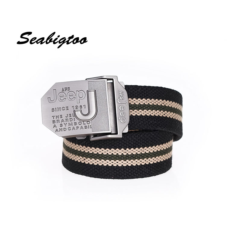 Seabigtoo Jeep logo military   belt   web canvas military   belts   for men women male jeans   belts   pants high quality strap waist metal