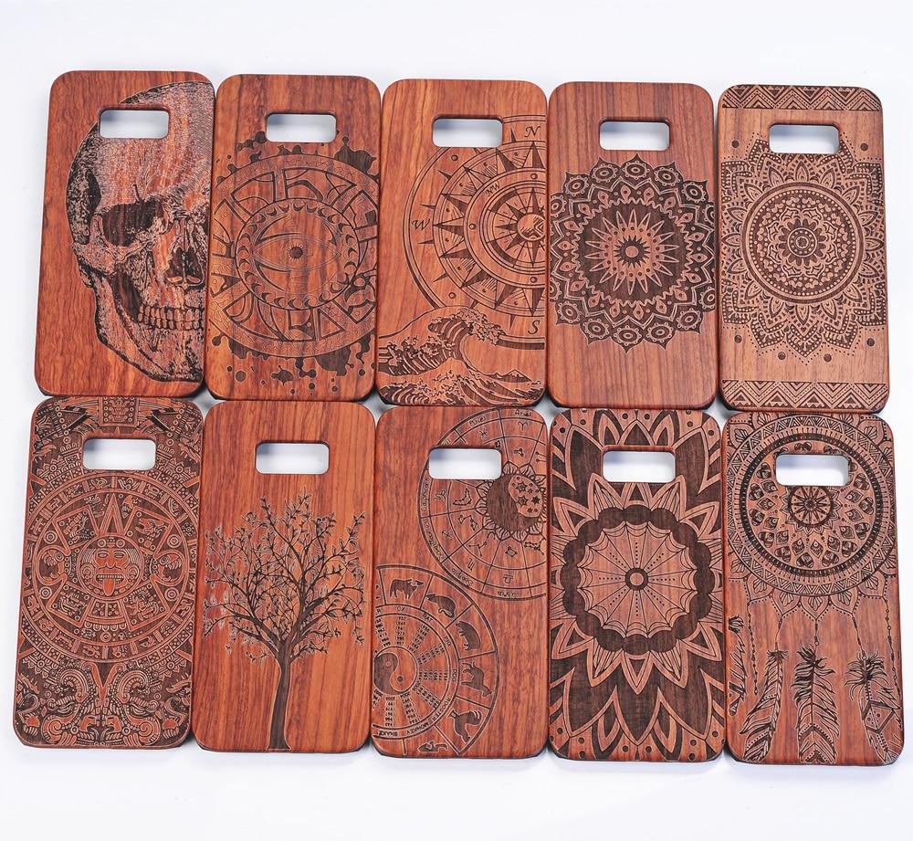 imágenes para Laser Que Talla 100% Verde Natural De Madera de madera Real + Plástico de la PC case bolsa cajas del teléfono cubierta de shell de la piel para samsung galaxy s8 Plus
