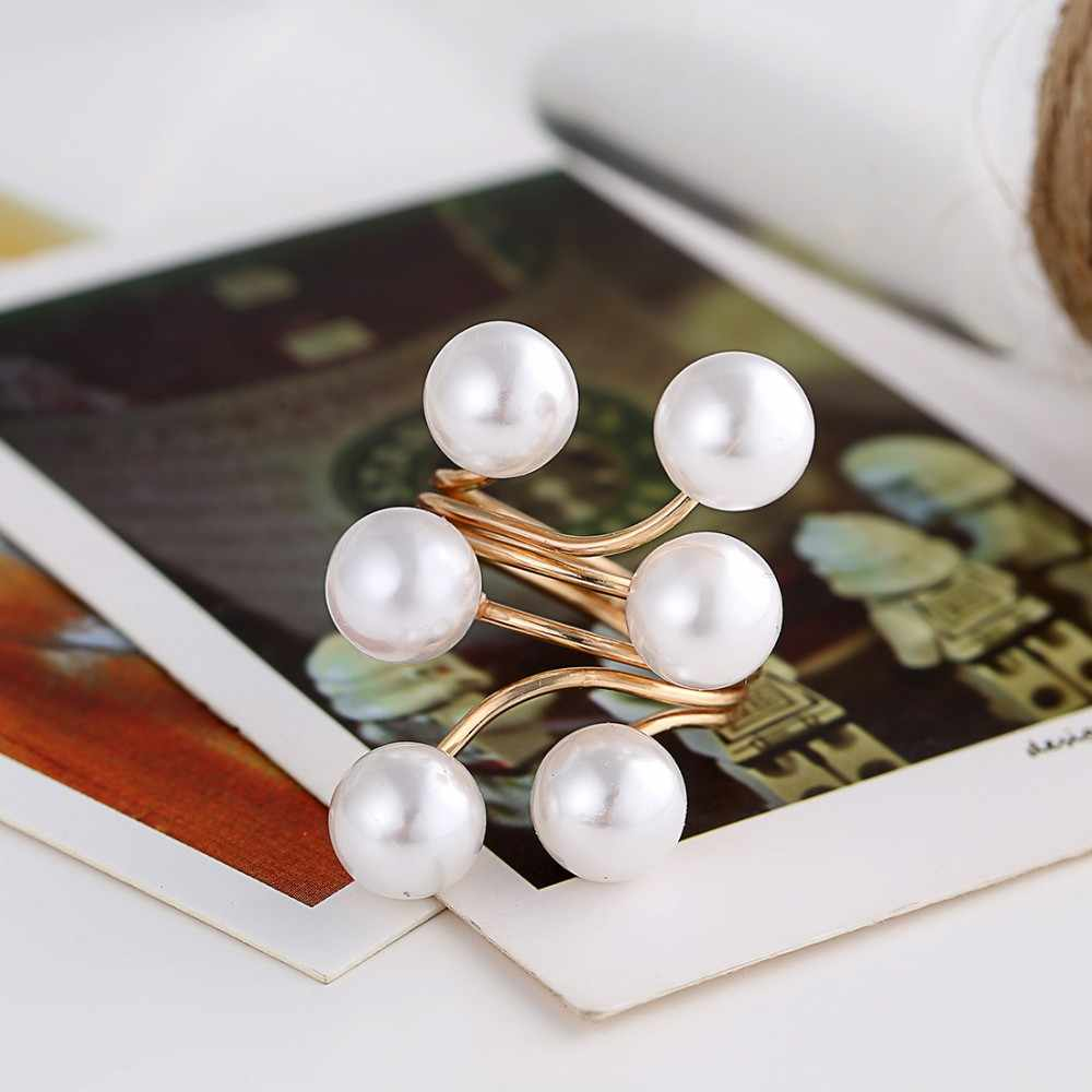 Hesiod New Arrival Adjustable One Size Women Simulated Pearl Ring Party Wedding Jewelry Gifts Wholesale