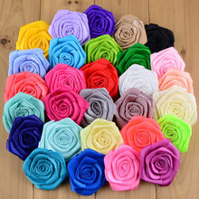 30pcs lot 29 Color U Pick 2.4 Inch Handmade Satin Ribbon Rose Flowers Flat  Back DIY Bridal Bouquet Wedding Decoration MH20 551d8ea61e50
