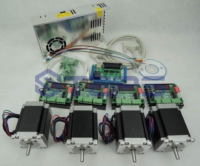 ЧПУ комплект 4 осевой контроллер комплект, Nema23 76 мм 3A шаговый двигатель + ЧПУ 4 оси TB6560 Драйвер шагового двигателя + 250 Вт источник питания