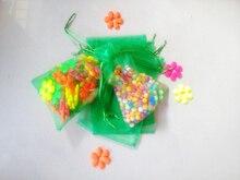 2000 unids Hierba verde del regalo del organza bolsas 10×15 cm bolsos de fiesta para las mujeres evento casarse Con Cordón bolsa de La Joyería pantalla Bolsa de accesorios de bricolaje