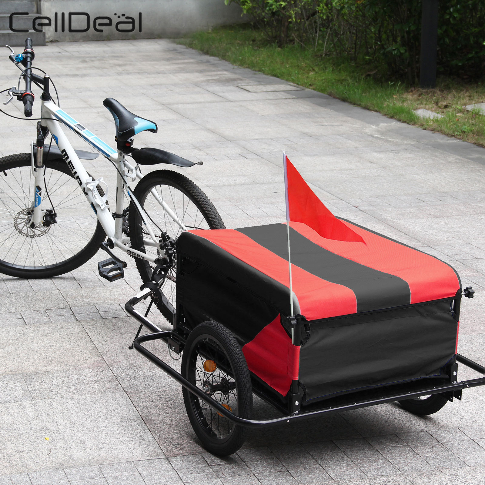 Folding Bike Cargo Trailer Lightweight Pet Luggage Carries Trailer Cart  Removable Transportation Box With Cover