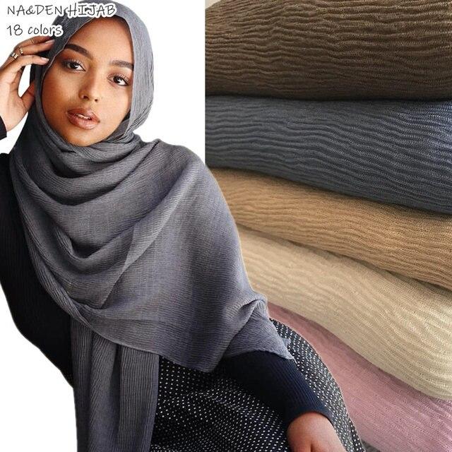Bufanda Lisa hijab plisada natural para mujer, bandana, chal, chal musulmán, hijab, 10 Uds. Gran oferta