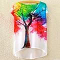 Stylish Women T-shirt Scoop Neck Colorful Tree Print High Low Short Sleeve Harajuku Mori Girl Kawaii Tops Tees Casual Vestido