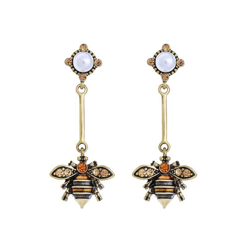 KISS ME Rhinestone Enamel Bee Dangle Earrings Silver Gold Color Alloy Vintage Earrings for Women Fashion Jewelry