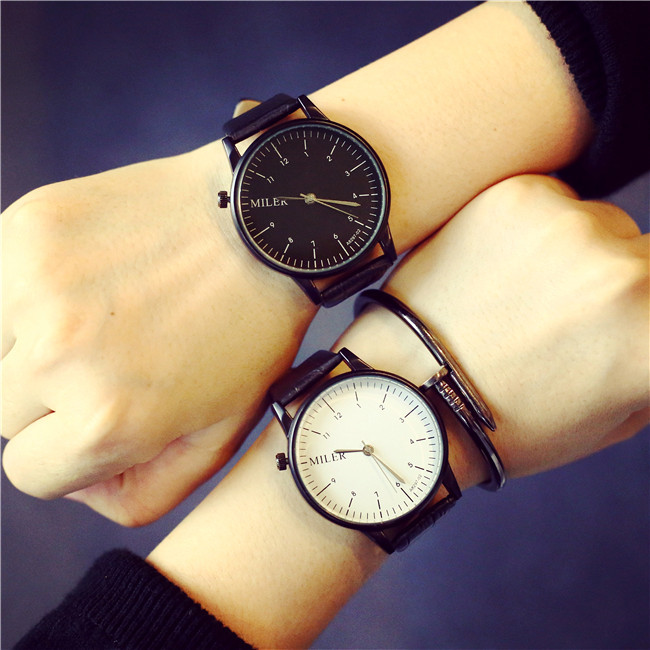 Luxury Original MILER Brand Classic Genuine Leather Quartz Dress Wristwatches Wrist Watch for Men Male Boy