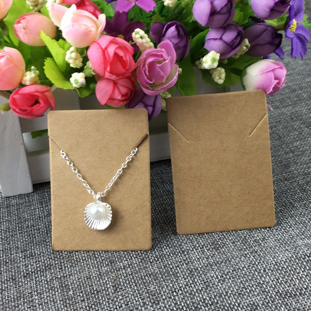 100pcs/lot  5x7cm Kraft Paper Necklace/Pendant Cards Jewelry Packing Cards For Jewelry Accessory Display  Card