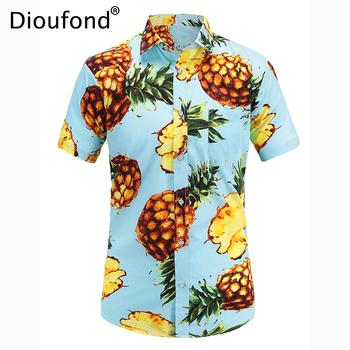 Dioufond męska koszulka z krótkim rękawem lato hawajska koszula Aloha męska w całości zapinana na guziki kwiatowe koszulki z nadrukiem ananasowym 2018 nowa S-3XL tanie i dobre opinie CN (pochodzenie) COTTON Poliester Casual Shirts Skręcić w dół kołnierz Pojedyncze piersi Koszule REGULAR JT035 Suknem