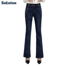Sokotoo женщин удлиняется плюс большой размер загрузки вырезать джинсы Случайные темно-синий стрейч джинсовые flare брюки Длинные брюки