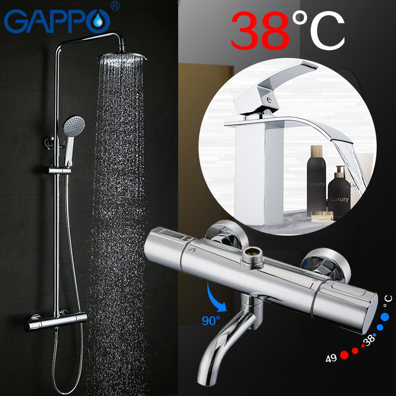 GAPPO shower faucet basin sink waterfall faucets shower thermostatic mixer Rainfall taps bath Sensor Faucets shower