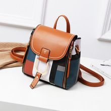 Multifunctional Colorful Plaid Women Bags Backpacks Fashion Brand Retro Leather Lady Backpack Small Shoulder Bag For Young Girl