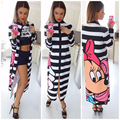 2017 Cartoon Mickey Printed Dress O-neck Zipper Women Dress Patchwork Hot Sell Elegant Dress European And American Style