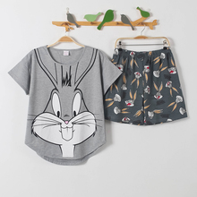 short pants + short sleeve tops pajamas sets cotton nightwear big yards M-XXL cartoon pyjamas women summer sleepwear 2pcs/set