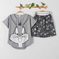 Pantalon court + manches courtes hauts ensembles de pyjamas vêtements de nuit en coton gros yards M-XXL dessin animé pyjamas femmes vêtements de nuit pour enfants 2 pièces/ensemble