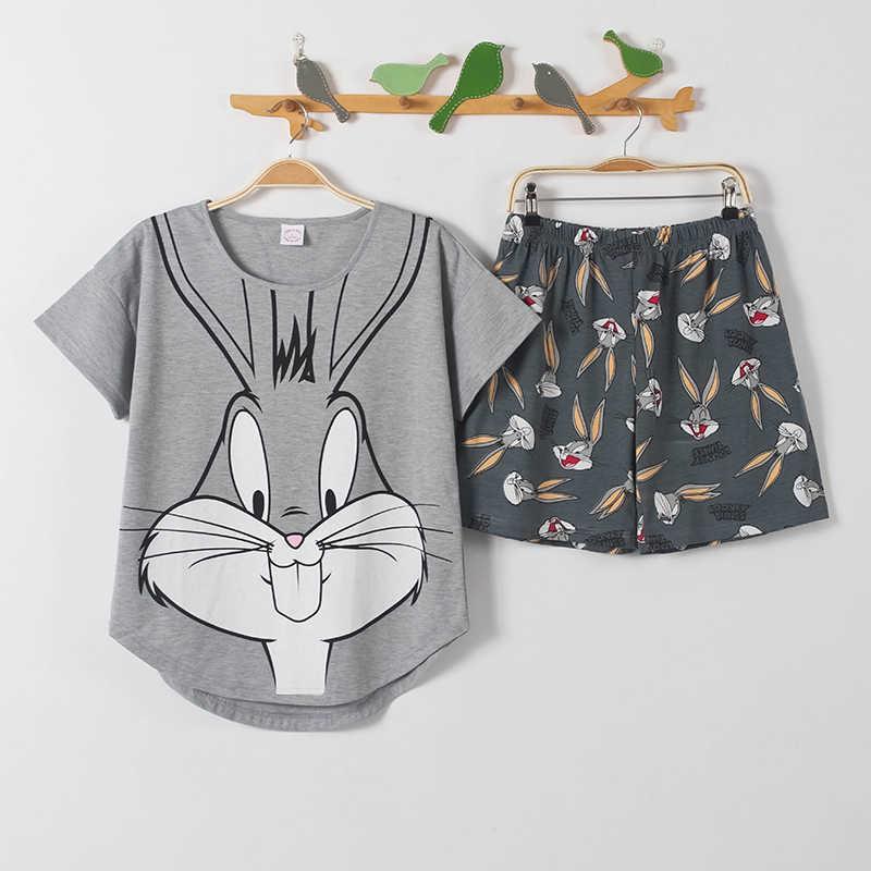 짧은 바지 + 짧은 소매 탑스 잠옷 세트 면화 nightwear 큰 야드 M-XXL 만화 잠옷 여성 여름 잠옷 2 개/대/세트