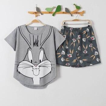 Short Pants + Short Sleeve Tops Pajamas Sets Cotton Nightwear Big Yards M-XXL Cartoon Pyjamas Women Summer Sleepwear 2pcs/set
