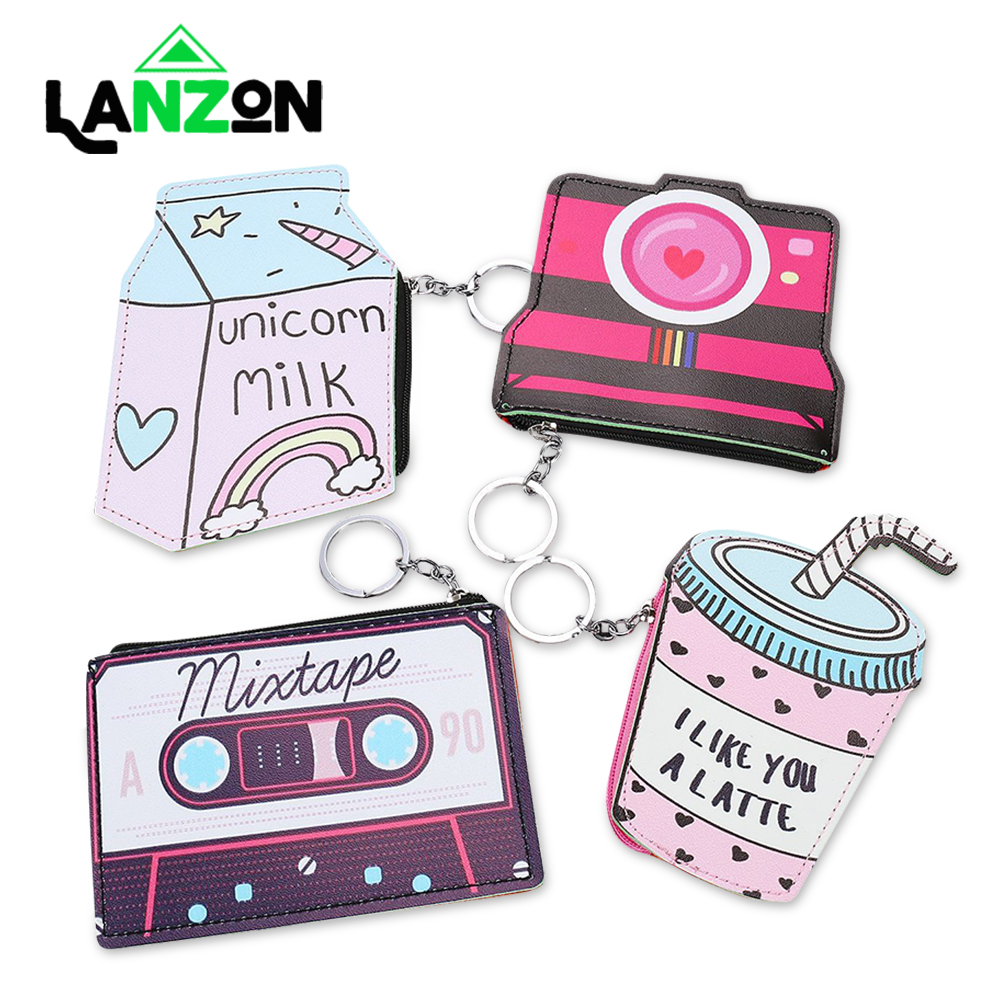 Lanzon Funny Leather Wallet Women 3D Print Coin Purse Cute Camera Pattern Key chain Kawaii Keyring Small Money Bag Card Holder