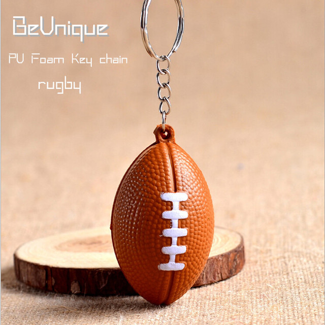 Funny Anti Stress Ball Toys 8 5 6cm Pu Foam Rugby Keychain Pendant Hand Exercise