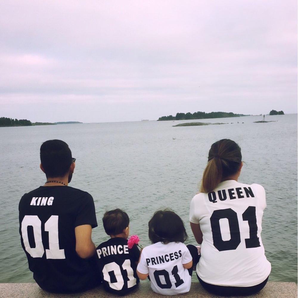 BKLD New 100% Cotton Matching T shirt King 07 Queen 07 Prince Princess Letter Print Shirts,Casual Men/Women Lovers Tops Newborn 10