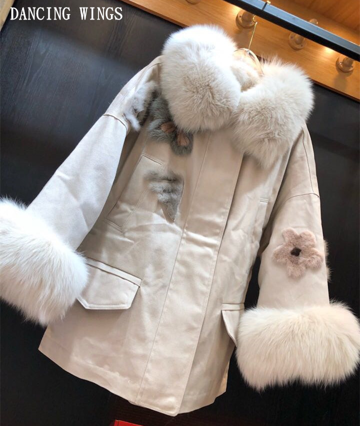 Autumn Winter Real Fox Fur Collar Women Parkas   Down     Coats   Jacket Exquisite Mink Fur Flowers Embroidery Lady Warm Outerwear
