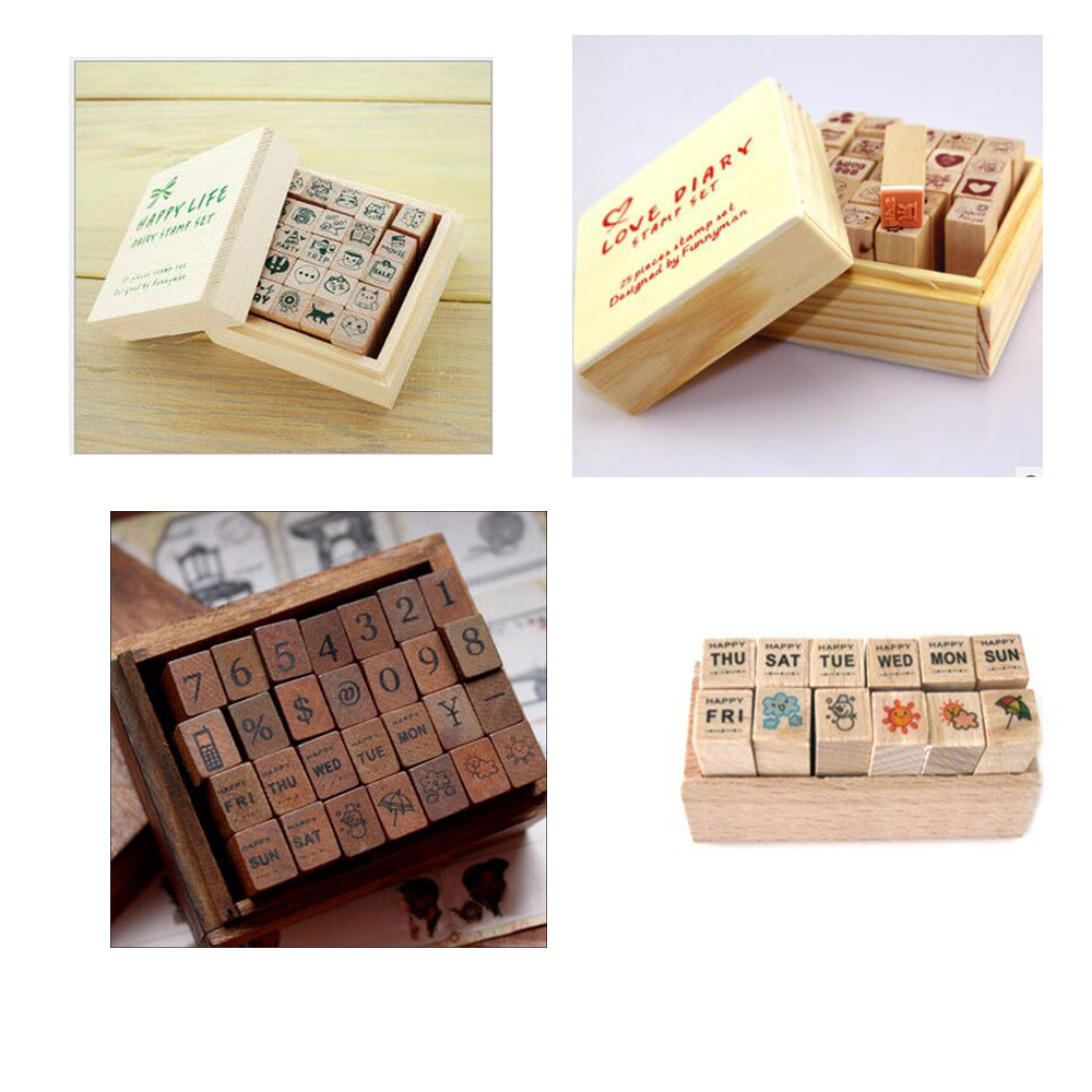 2019 New Diary Wood Stamp School Supply Gift Scrapbooking Stamps For Wedding Love Diary Wrinte Cute Diary Decoration For Child