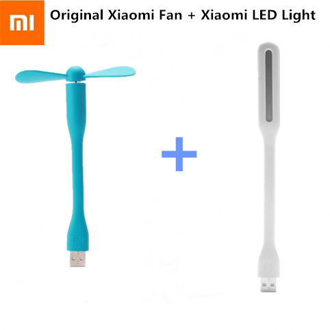 Original Xiaomi USB Fan + USB LED Light  Mini Power-saving Quite Flexible Adjustable USB Cooling Fan Cooler for Power Bank