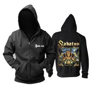 Image 2 - Bloodhoof Sabaton heavy metal czarny power metalowy zamek błyskawiczny z kapturem w rozmiarze azjatyckim