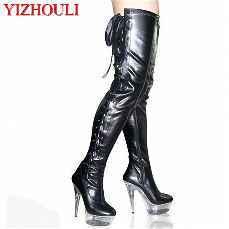 15cm over knee pole dancing boots black thigh high boots fetish 6 inch platform high heel boots sexy women strappy tall boots sexy clubbing pole dancing knee high boots 6 inch high heel shoes winter fashion sexy warm long 15cm zip platform women boots