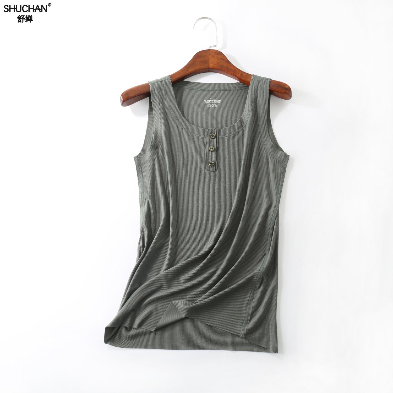 Shuchan Button   Tank     Tops   Women Cotton Solid   Top   Sexy Plus Size T Shirt Ladies Vest Singlets Camisole Big Size Vest Female